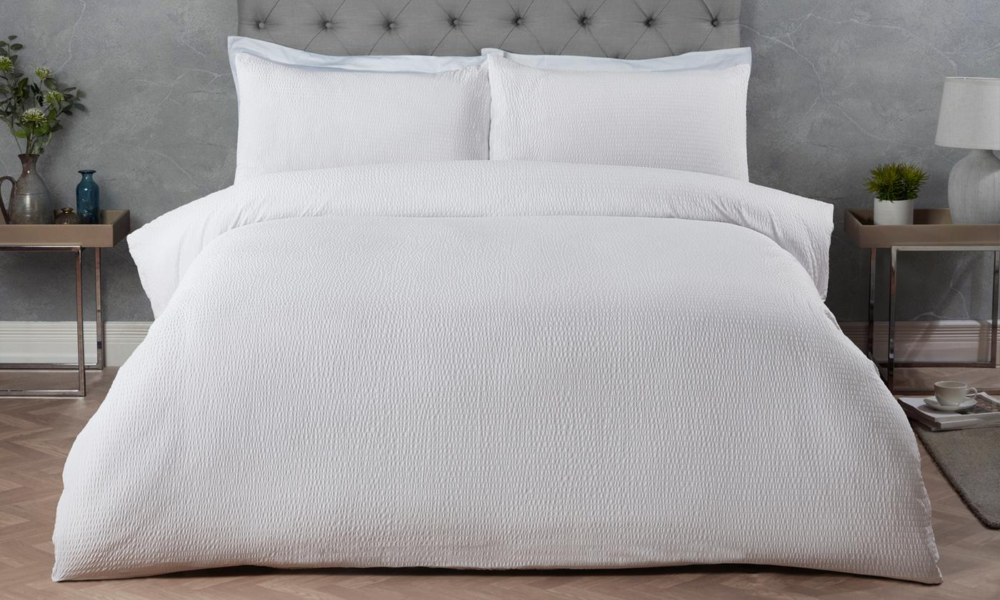 White Collection Seersucker Duvet Set