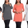 FTL Women's Elbow-Sleeve Lace-Up-Front Tunic
