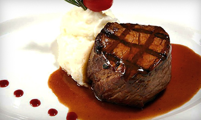 Grillfire - Long Beach: $39 for an American Dinner with Wine for Two at Grillfire Long Beach (Up to $83 Value)