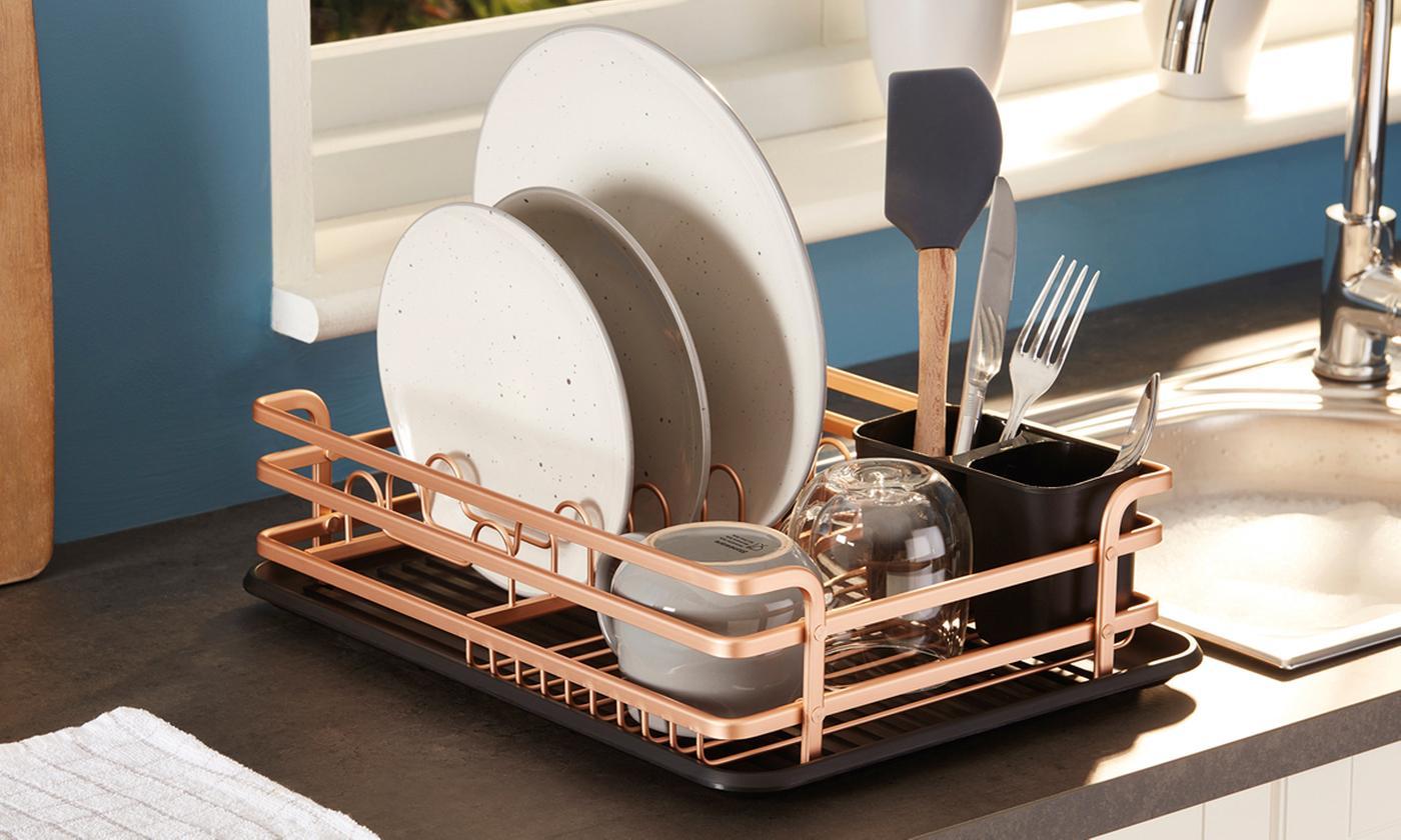 Rose Gold-Coloured Utility Dish Rack