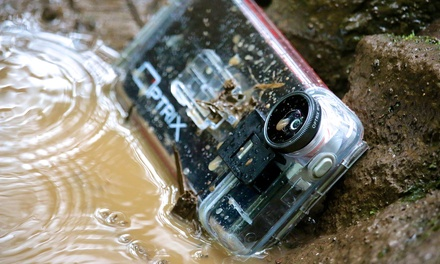 Fellowes Optrix Waterproof Clear Action Camera Case for iPhone 5/5s/SE with TwoLens Kit for £15.98