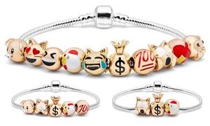 Fun Times Emoji Charm Bracelet in 18K White Gold Plating