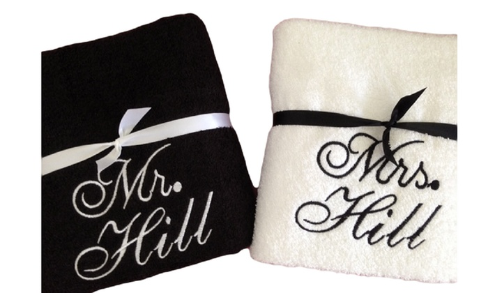 Cay Boutique: One Or Two Sets Of Personalized Mr. U0026 Mrs. Bath Towels Part 96