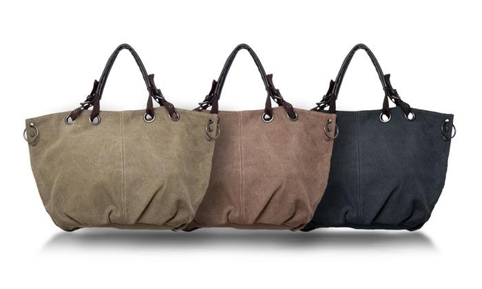 80% Off on Canvas Shoulder Tote Bag | Groupon Goods
