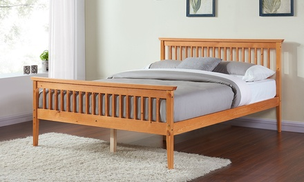Solid Wood Shaker Pine Bed Frame in Choice of Colour with Optional Mattress With Free Delivery