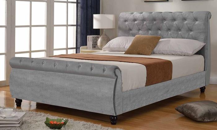 timeless design 2ea53 ed923 Windsor Silver Velvet Bed | Groupon Goods