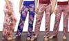 Bella Flore Stretchy High-Waist Floral Pants. Plus Sizes Available.