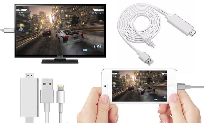 Câble HDMI adaptateur iPhone/Android, couleurs au choix dès 17,99 € (jusqu'à 79% de réduction)