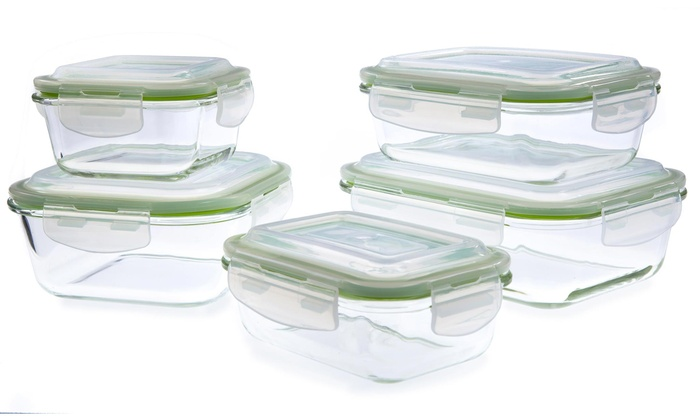 80d2e6c0a898 Glass Food Storage Containers with Self-Locking Lids Set (10-Piece)