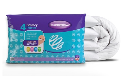 Four Slumberdown Bouncy Pillows and 4.5 Tog or 10.5 Tog Duvet
