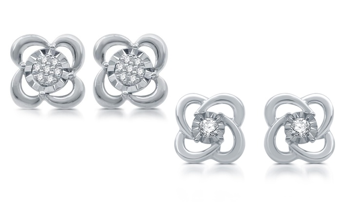 1 10 Cttw Diamond Stud Earrings In Sterling Silver By Decarat
