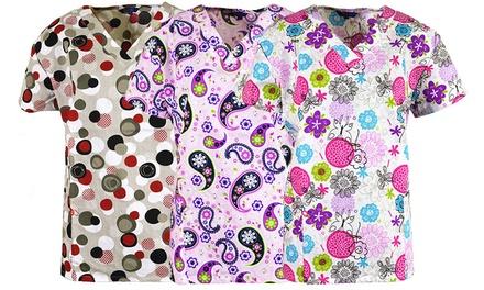 Zikit Women's Assorted Print V-Neck Scrub Tops (3-Pack)