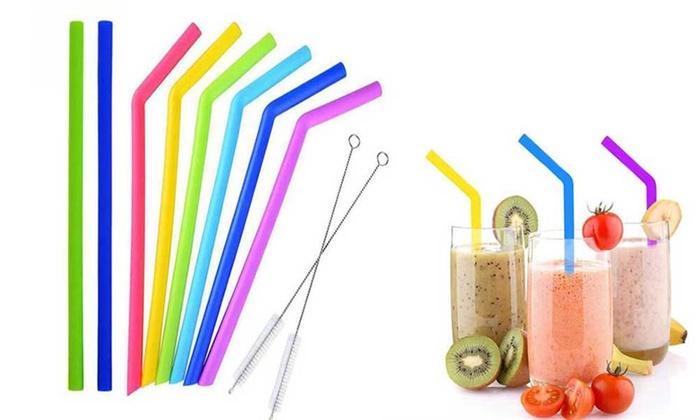 10-Piece Reusable Silicone Straws Set | Groupon