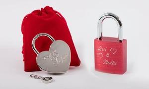 Gravur King: Liebesschloss in Herzform in Silber oder Premium-Liebesschloss in Rot von Gravur King (bis zu 53% sparen*)