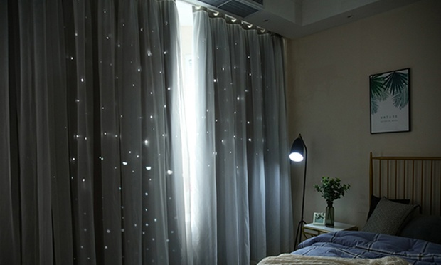 Two Panel Star Blockout Curtains Groupon