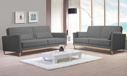 canap d t convertible scandinave avec ses coussins. Black Bedroom Furniture Sets. Home Design Ideas