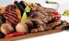 Biznaga Café - Malaga: Menú para 2 o 4 con ensalada, parrillada de carne, postre o café y bebida desde 29,95 € en Biznaga Café