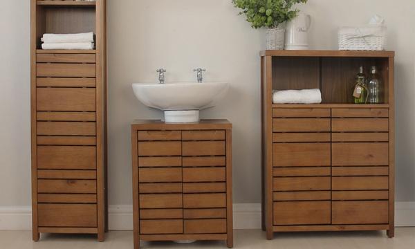 Wooden Bathroom Furniture Range Groupon, Real Wood Bathroom Furniture