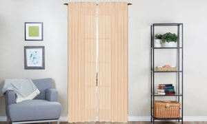 Sheer Voile Curtain Panels with Rod Pockets (4-Pack)