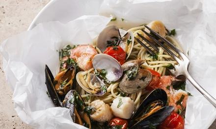 Cena completa di pesce con crudités e abbinamento di vini per due persone da La locanda del pellegrino a Campo de' Fiori