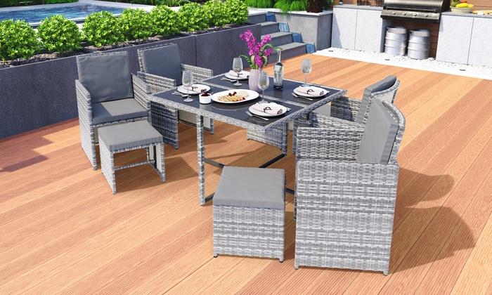 SwingHarmony Vegas Rattan-Effect Cube Garden Furniture Set