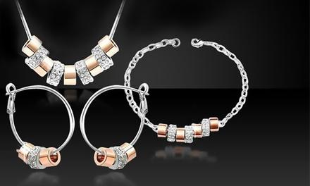 Elegantes Schmuck-Set mit Ohrringen, Halskette und Armband veredelt mit Kristallen von Swarovski®
