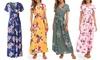 Lilly Posh Women's Faux Wrap Floral Maxi Dress. Plus Sizes Available.
