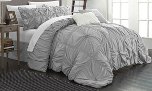 Chic Home Halperina Floral Pinch-Pleat Comforter Set