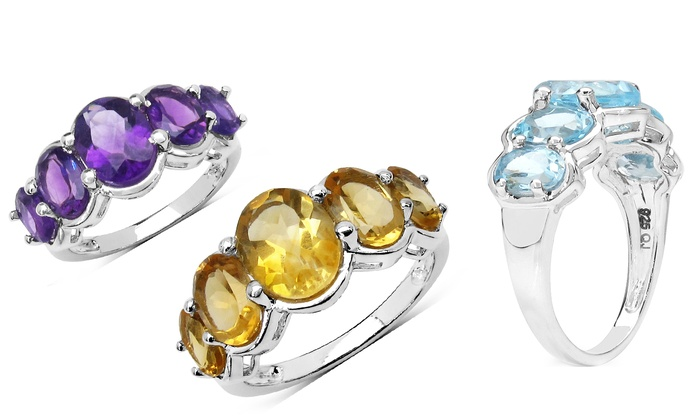 5 genuine gemstone rings groupon goods