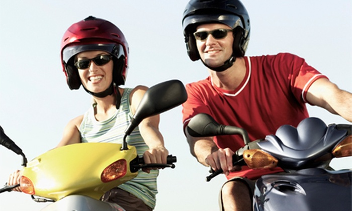 Mansion Rentals - Newport: Full-Day Moped Rental or Two-Hour Scoot Coupe Rental for Two Riders with Helmets from Mansion Rentals (Up to 49% Off)
