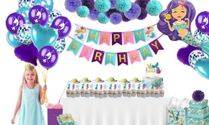 Mermaid Kids' Birthday Party Decoration Package (100-Piece)