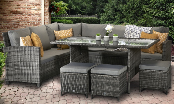Cuba Rattan-Effect Corner Dining Sofa Set with Optional Cover from £579.99