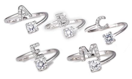 Bague Lettre Be Jewels ornée de cristaux Swarovski®, taille ajustable