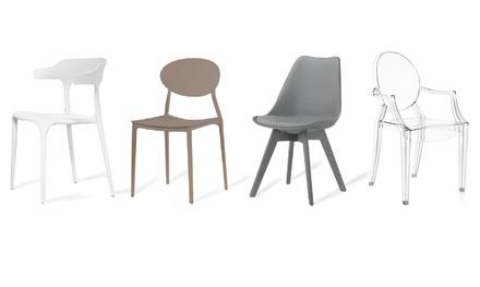 Set di 4 sedie, disponibili in 4 modelli e colori