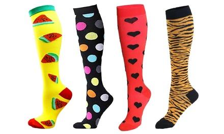 1, 2 ou 4 paires de chaussettes de compression imprimées