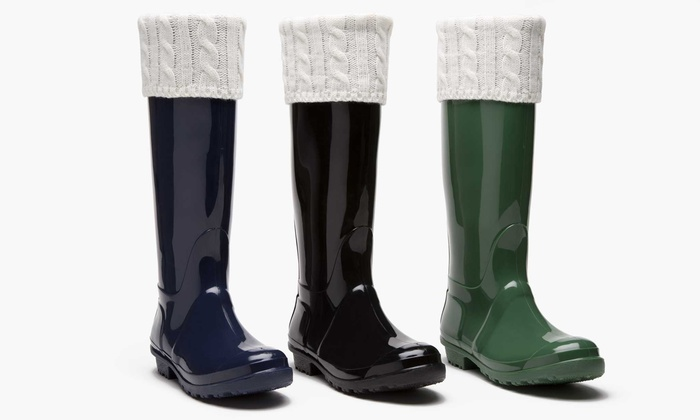 Sociology Women's Sweater Cuff Rain Boots | Groupon Exclusive