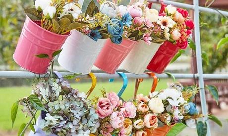 10 macetas de colores para flores co gancho y agujero de drenaje