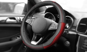 Sleek and Sporty Universal-Fit Genuine-Leather Steering Wheel Cover