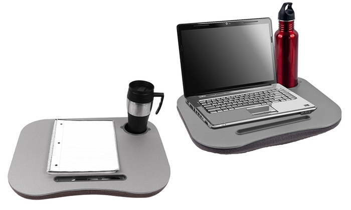 Gray Cushion Lap Desk with Pen and Cup Holder: Gray Cushion Lap Desk with Pen and Cup Holder