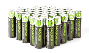 Groupon Portable Power AA or AAA Alkaline Battery Set (36-Piece)