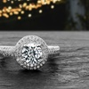 Lesa Michele Cubic Zirconia Halo Engagement Ring in Sterling Silver