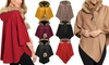 Ladies Fur Trim Hooded Cape
