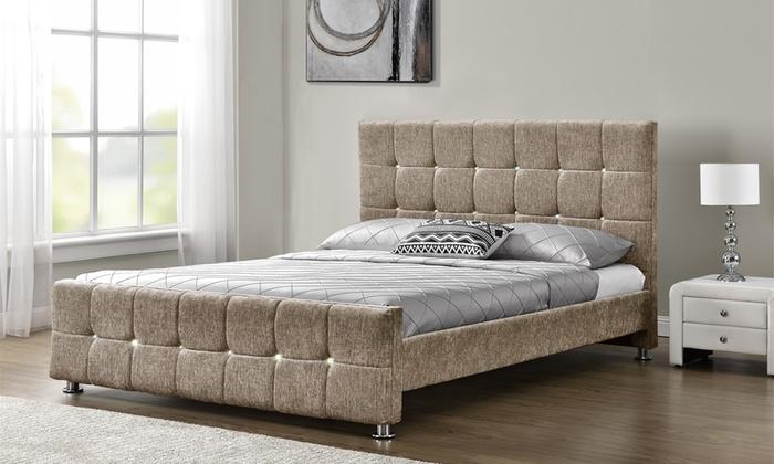Velvet or chenille bed frame groupon goods for Beds groupon