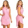 Women's Sleeveless Side Slit Button Down Shirt Dress (Size XL)