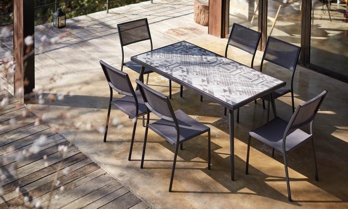jusqu\'à 41% Ensemble table céramique + 6 chaises   Groupon