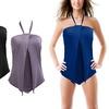 Women's Plus-Size Draped One-Piece Swimsuit