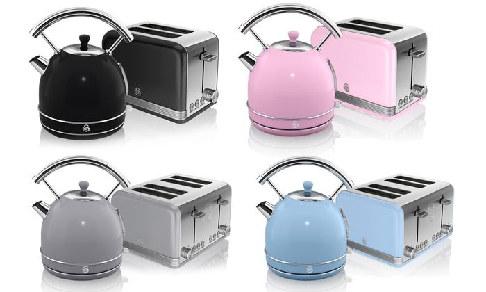 Swan Retro Dome Kettle and Two- or Four-Slice Toaster Set