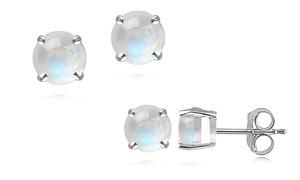 Genuine Moonstone Stud Earrings in Sterling Silver at Genuine Moonstone Stud Earrings , plus 6.0% Cash Back from Ebates.