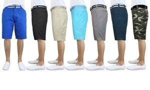 Galaxy by Harvic Men's Flat Front Slim Fit Cotton Shorts with Belt