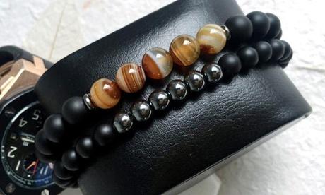 1, 2 ou 4 double bracelets avec pierres naturelles agate et hématite